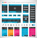 Web design stuff panels and infographics price login forms headers footers icons infographic a multimedia movie player Stock Photography