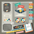 Web design vintage portfolio elements collection of color stickers speech bubbles text message icons hand drawn shapes info Stock Photography