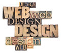 Web design in wood type Stock Photography
