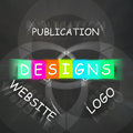 Web design words displays designs for logo publication and websi displaying websites Stock Image