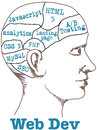 Web dev developer technology tools head in phrenology drawing Royalty Free Stock Photography
