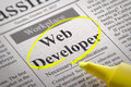 Web developer jobs in newspaper job search concept Stock Photos