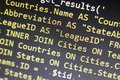 Web developer PHP code close up. Macro shot of complicated SQL query to database Royalty Free Stock Photo