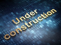 Web development concept golden under construction on digital background d render Stock Photography