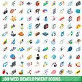 100 web development icons set, isometric 3d style