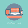 Web development illustration concept flat design modern vector poster of programming and responsive website process design Royalty Free Stock Image