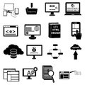 Web development and programming icons set in black Royalty Free Stock Images