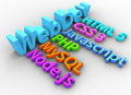 Web development tools for html site website css sql php node Stock Images