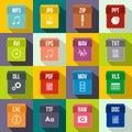 Web document icons set, flat style