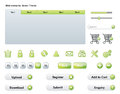 Web elements green theme essential including buttons tabs and icons vector perfect for mobile apps Stock Photo