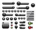 Web elements set black buttons Royalty Free Stock Photo