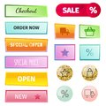 Web elements shop buttons buy element cart business banner symbol navigation menu online chart discount market retail Royalty Free Stock Photo