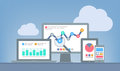 Web et concept d analytics de seo Images stock