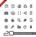 Web et fondements mobiles d icons Photographie stock