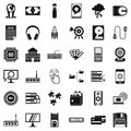 Web extension icons set, simple style