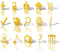 Web Gold Button Icons Set 1 Shadow Reflect Angled Stock Image