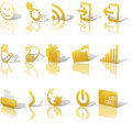 Web Gold Icons Angled on White Set 2 Royalty Free Stock Photo