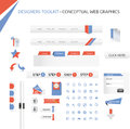 Web graphics a set of designed and icons Stock Photos