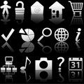 Web Gray Icons Set with Relections on Black 1 Stock Photos