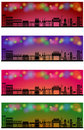 Web header banner city skyline set of four background concept Stock Photos