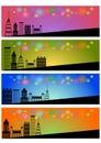 Web header banner set of four city skyline background concept Stock Photos