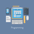 Web and html programming flat illustration design vector concept icons set of modern programmer workflow for coding user interface Stock Photo