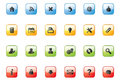 Web icon buttons square vector icons on colourful Stock Images