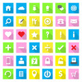 Web icon flat style on colorful rectangle background with long shadow
