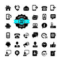 Web icon set contact us communication symbol Stock Image