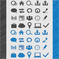 Web icon set for your design. sketch style blue and black Royalty Free Stock Photo