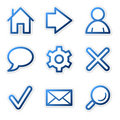 Web icons, blue contour series Royalty Free Stock Images