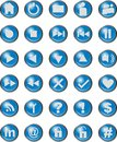 Web icons blue shiny button Royalty Free Stock Photo