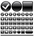 Web icons & buttons - black Stock Photos