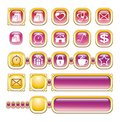 WEB ICONS, BUTTONS, GOLD, PINK Royalty Free Stock Image