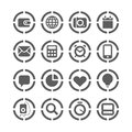 Web icons on circles collection Royalty Free Stock Images