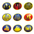 Web icons with city Stock Image