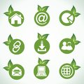 Web icons and design with green leaf Royalty Free Stock Images