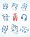 Web icons in doodle style Royalty Free Stock Photos