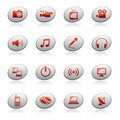 Web icons on ellipse buttons 4 Stock Images