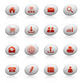 Web icons on ellipse buttons Stock Photos