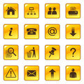 Web icons on glossy buttons Royalty Free Stock Photo