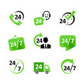 Web icons hour service delivery support ph icon set nonstop phone Royalty Free Stock Photography