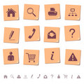 Web icons on memo notes 1 Stock Image