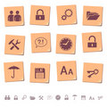 Web icons on memo notes 3 Stock Photos