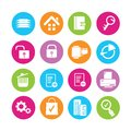 Web icons set of in colorful buttons Stock Photo