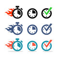 Web icons set time stopwatch clock symbol of performance in exactly the specified Stock Photo