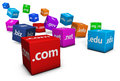 Web internet hosting domain names website and concept with domains sign and text on colorful cubes isolated on white background Royalty Free Stock Photography
