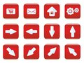 Web and internet icon set red color Stock Images
