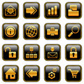 Web and Internet icons - golden series Stock Photo