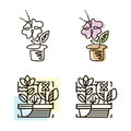 Web line icon. Flower in a pot. Line art icon.